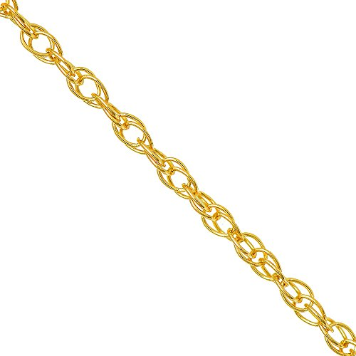 10k Solid Yellow Gold 0.7mm Carded Cable Rope Chain Necklace 18 Inches