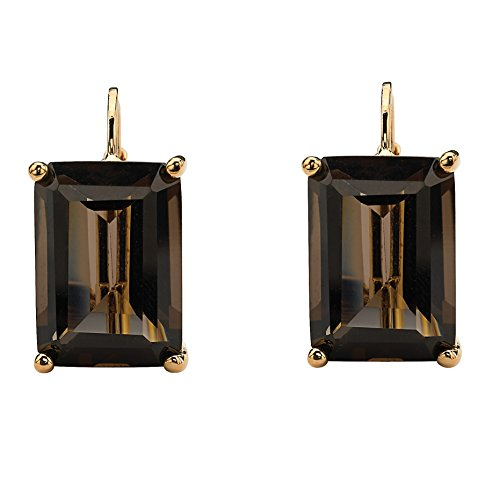 18K Yellow Gold-Plated Emerald Cut Genuine Smoky Quartz Drop Earrings (16x10.5mm) Cushion Smokey Quartz Earring