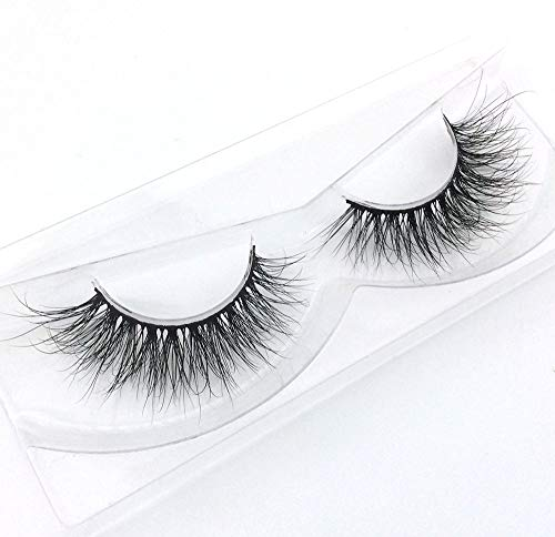3D Mink Fur Hand-made Dramatic Thick Crisscross Siberian Mink False Eyelashes for Makeup Deluxe Black Fluffy Long Soft Reusable + Useful Lashes Clip (3D51) -