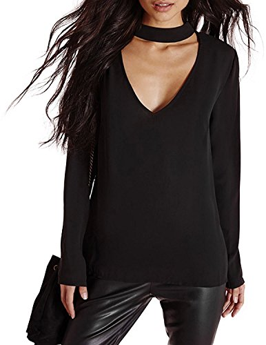 HaoDuoYi Womens Plian V Neck Keyhole Choker Long Sleeve Basic Top T Shirt