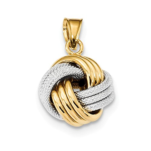 14k Two Tone Yellow Gold Textured Love Knot Pendant Charm Necklace Fancy Fine Jewelry Gifts For Women For ()
