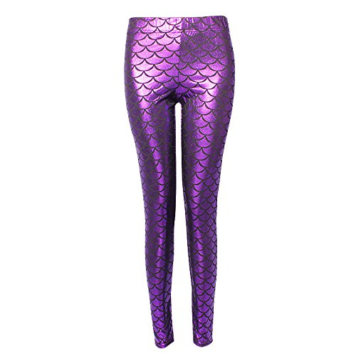 H.coosy practical;cozy Europe and the United States Mermaid fish scales multi-color multi-color bright leather leggings ML-2011 Purple Red XXL