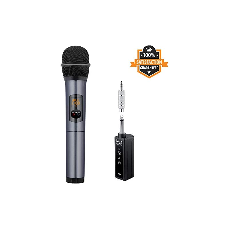 Wireless Microphone Karaoke System - Kithouse Handheld Microphone Wireless Professional Singing Mic Transmitter & Receiver Set - Vocal Dynamic Stage Microphone - Also For Bus/Car FM Audio, K380F