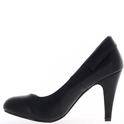 Scarpe nere con tacchi sottili di strass di decorazione 9, 5cm
