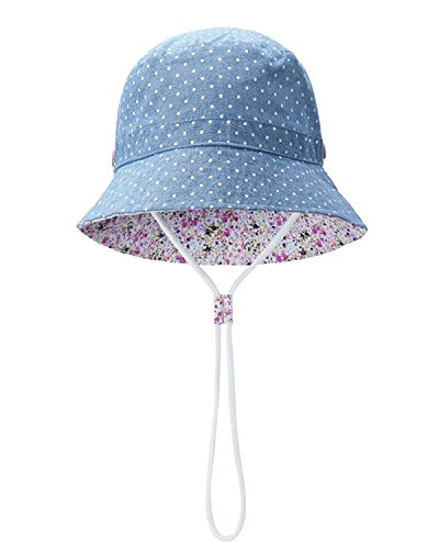 Baby Sun Hat Toddler Kids Dinosaur Hat Sun Protection Bucket with Chin Strap (9-18 Months, Blue Dot)
