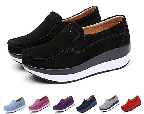 - gracosy Slip-On Platform Shoes, Women's Suede Soft Toning Rocker Shoes Shape UPS Sneakers Walking Shoes Black