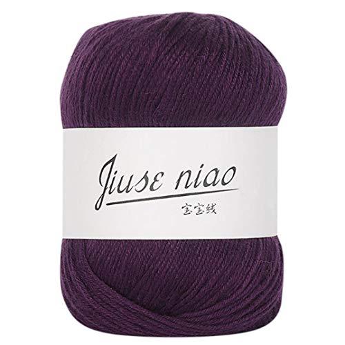 Cotton Wool Blend Yarn - Crochet Knitwear Wool Yarn, Staron Fall Winter Multicolor Milk Cotton Wool Blend Warm Soft Natural Chunky Colorful Hand-Woven Knitting Crochet Knitwear Wool (E)