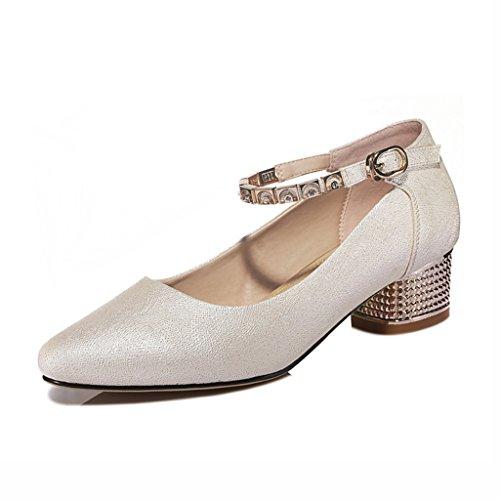 Zapatos para mujer HWF Primavera Poco Profunda Puntiagudo (Color : Blanco, Tamaño : 36) Beige