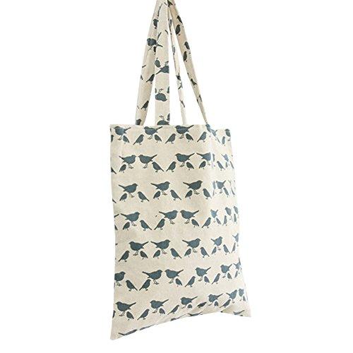 Caixia Women's Blue Bird Pattern Print Canvas Tote Shopping Bag - Tote Bird