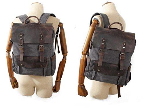 11 Canvas 30 capacité Couleurs Écolier Trois Sac 1 à Travel en 38cm Dos Cuir Grande Retro 2KG BeiBao Zipper SwxCqgq