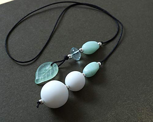 Handmade Beaded Bookmark Artisan Matte Frosted White Ball Mint Leaf Glass Bead Book Lover Gift Bookworm for Reader Librarian Gonna Read Teacher Book Thong String Bookcase Decor Crafted by KapKaDesign