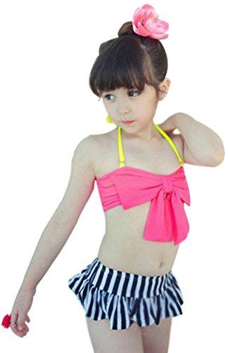 Little Girls 3 Pieces Tankini Swimsuit Sets Bowknot Top Stripe Skirts Fuchsia XL