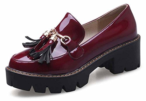 Showhow Womens Retro Solido Punta Rotonda Frange Low Top Slip On Mid Block Tacco Piattaforma Sneakers Scarpe Vino Rosso