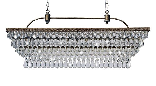 The Weston 40 Inch Rectangular Glass Drop Crystal Chandelier, Antique Copper