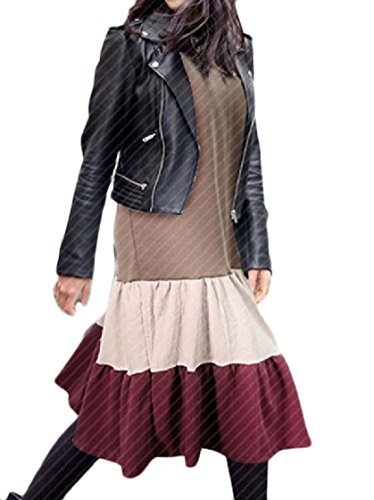 Coolred-femmes Taille Plus Contraste Couleur Flouncing Chemisiers Baggy Kaki Robe Chemise
