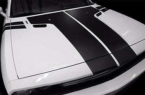 Dodge Challenger 2008-2013 T-HOOD STRIPE Graphics Kit 3M Vinyl Decal Wrap - Matte (Challenger Hood)