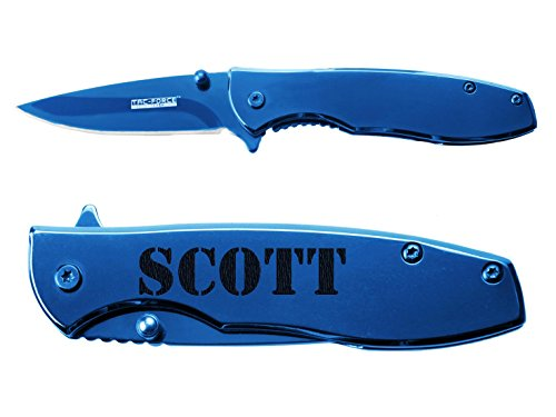 Name Scott engraved Mirror Blue Finish TAC-Force TF-573 Speedster Executive Model Folding Pocket Knife by NDZ Performance (Speedster Scott)