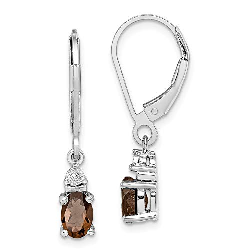 (Solid 925 Sterling Silver Diamond & Simulated Smoky Quartz Earrings (.01 cttw.) (24mm x 4mm))