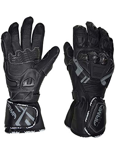 Armr Moto Black S870 Motorcycle Leather Gloves (Xxxl, - Vented Protector Glove Kevlar