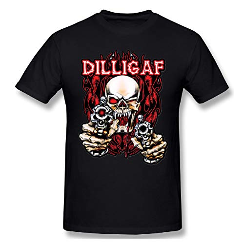 Ophelia Cornell Skull Guns Flames Men's Casual T-Shirt Short Sleeve Top Tees Fashion Men's T-Shirt Black ()