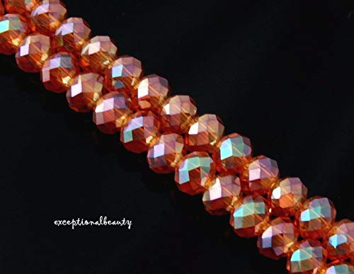 98 Crystal Copper Aurora Borealis Celestial Crystal Faceted 6mm Rondelle Beads