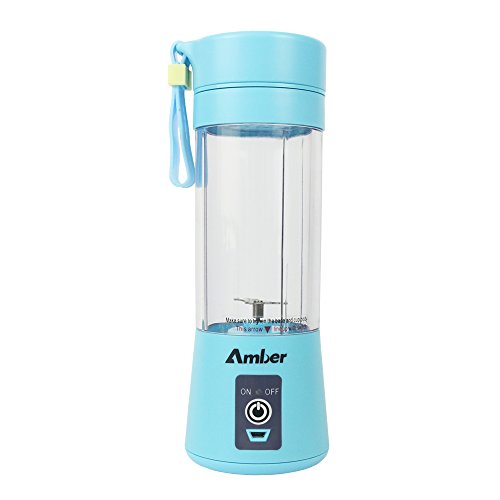 Amber 380ml Personal Blender, Portable Mixer, Protein Shaker Bottle, Blender for Baby Nutritional Food, Smoothies, Milk-Shake and Fruit Juice, Rechargeable, Blue (Mixer And Bottle Shake Go)