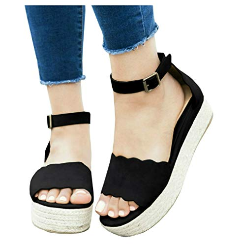 (LAICIGO Women's Scallop Edged Single Band Espadrilles Platform Sandal with Ankle Strap)