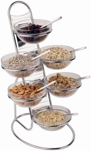 Amazon Com Aps Paderno World Cuisine Chromed 4 Tier Buffet Ladder And Medium Bowl Set Completer Serveware Sets Serving Bowls