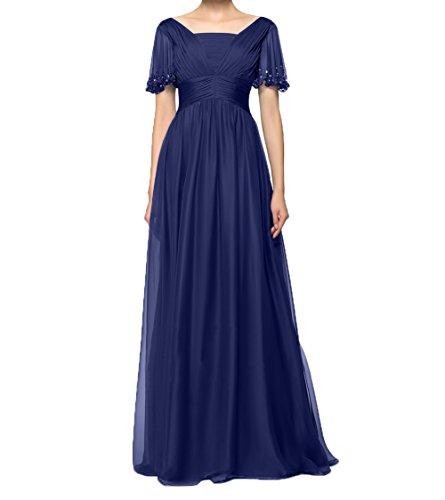Abendkleider mit Brautmutterkleider Ballkleider Dunkel Kurzarm Blau Langes Partykleider Chiffon Charmant Royal Festlichkleider Damen xwSq66