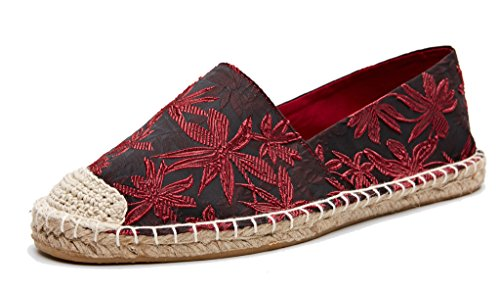 Beaded Flats Loafers Shoes - U-lite Jacquard Foral Espadrilles Women Shoes Slip-On Loafer Red 11