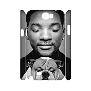 3D Bloomingbluerose Will Smith Samsung Galaxy Note 2 Cases Will Smith And His Bulldog Design For Men, Samsung Galaxy Note2 Cases For Women Design For Men [White]
