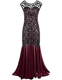 Women 's 1920s Black Sequin Gatsby Maxi Long Evening Prom Dress
