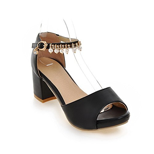 Black Beaded Lining Dress AdeeSu Sandals Urethane Womens SLC04026 Cold nax7Z5q8wB