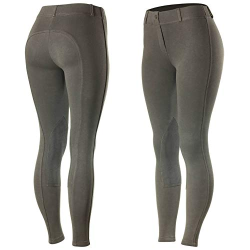 HORZE Ella Women's Pull-On Knee Patch Breeches - Dark - Grey - Size - Breeches Leg Patch