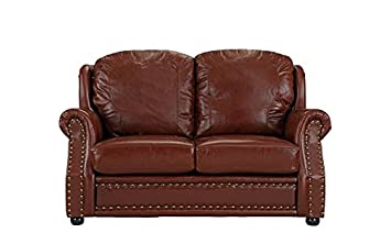 Leather Match Sofa 2 Seater, Living Room Couch Loveseat with Nailhead Trim Light Brown