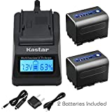 Kastar Fast Charger + Battery 2-Pack for Sony NP-QM71D NP-FM50 NP-QM71 NP-FM70 NP-FM90   CCD-TRV328 338 DCR-DVD300 301 DCR-HC14 DCR-PC105 330E TRV22 TRV24 TRV25 DSR-PDX10 HDR-HC1 SR1 UX1 HVR-A1U