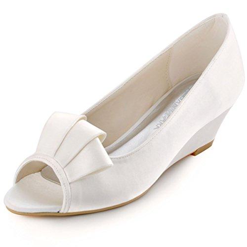 ElegantPark WP1518 Mujer Peep Toe Cintas Comfortable Volantes Saten Cunas Tacon boda Baile zapatos Ivoire
