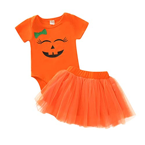 Summer Halloween Costume (Happy Town Baby Girl Halloween Costumes Pumpkin Smiles Short Sleeve Bodysuit Tutu Skirt Bowknot Dress Outfits (Orange, 0-6)
