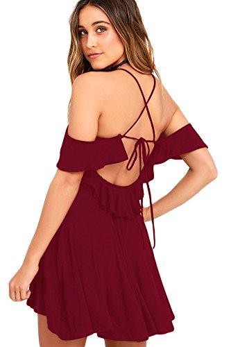 Nueva mujer vino frío hombro Skater vestido de fiesta desgaste club wear vestido de trabajo tamaño M UK 10–�?2EU 38–�?0