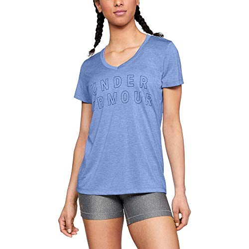 (Under Armour Women's Tech Graphic Twist V-Neck, Talc Blue (586)/Metallic Silver, Large)