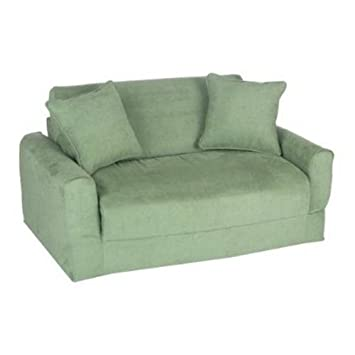 Fun Furnishings Micro Suede Sofa Sleeper with Pillows, Green