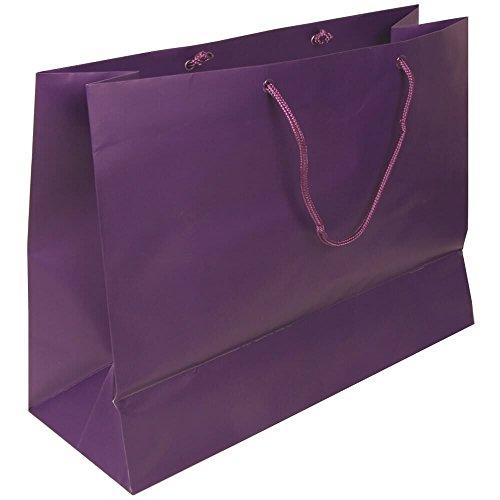 "JAM Paper Gift Bag - Large Horizontal - 16"" x 12"" x 6"" - Purple Matte - Sold Individually"