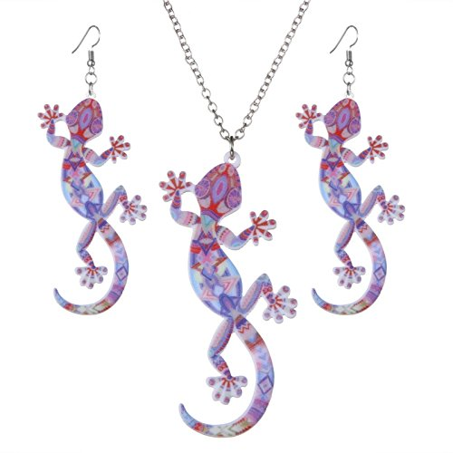 ptk12 Fashion Animal Gecko Lizard Necklace Earring Sets Acrylic Women Jewelry Set Enamel Jewelry by ptk12