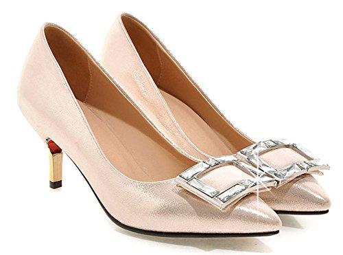 Aisun Donna Elegante Strass In Pelle Di Strass Punta A Punta Vestito Slip On Pumps Tacchi A Spillo Gattino Scarpe Oro