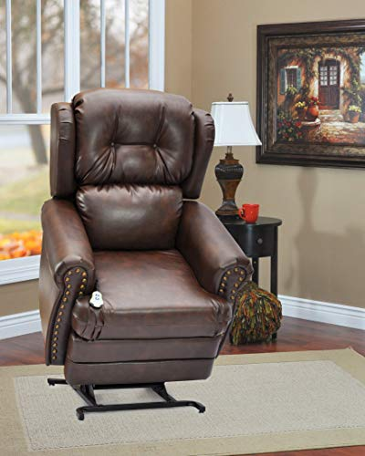- Wall-a-Way Reclining Lift Chair with Decorative Nail Head Trim - Bonded Leather III Chestnut