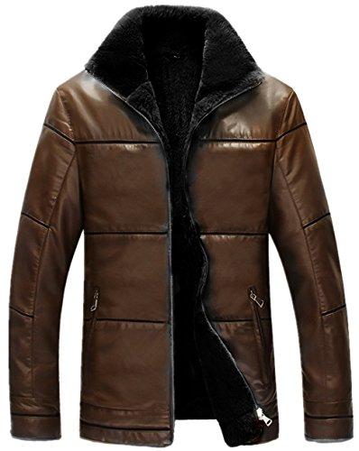 Parka Gros Veste Marron Warm Qualité Taille Hiver Pu Outdoor 6xl Doudoune Fausse Cuir Stand En Fourrure Ws668 Homme Leather Collar Haute Manteaux Jacket Mens Doublure Xs TAZqx4U4w