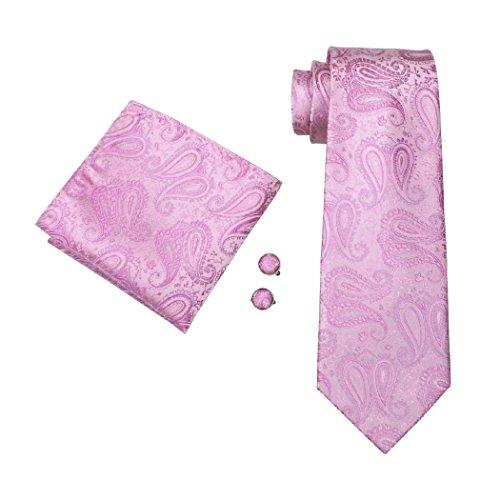 Men's Necktie CAOFENVOO Jacquard Hanky Hanky 0654 Necktie Cufflinks Set Tie Tie Pink Men's Woven Set Cufflinks Silk N wvq4YXHqc