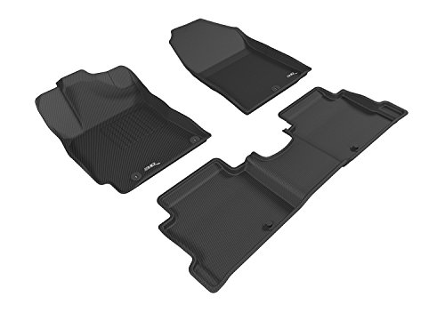 3D MAXpider L1HY07101509 Complete Set Custom Fit All-Weather Floor Mat for Select Hyundai Elantra Models - Kagu Rubber (Black)