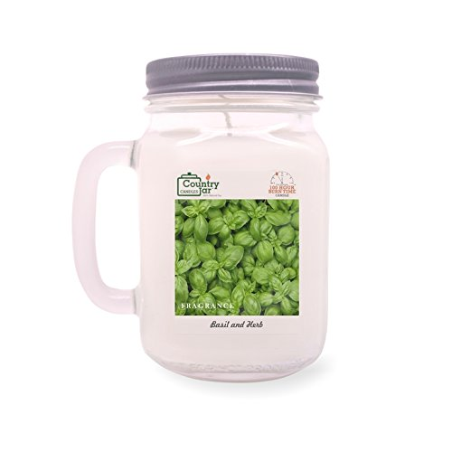 Country Jar Basil and HERB Soy Candle (14 oz. Mason-Carry Jar) / 20 Percent of 3 or More Sale!