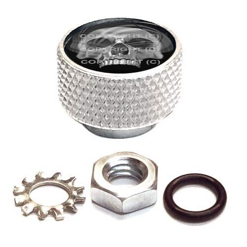 Billion_Store Silver Billet Aluminum Knurled Horn Cover Nut for Twin Cam - Chrome Skull Half Cool Tuning
